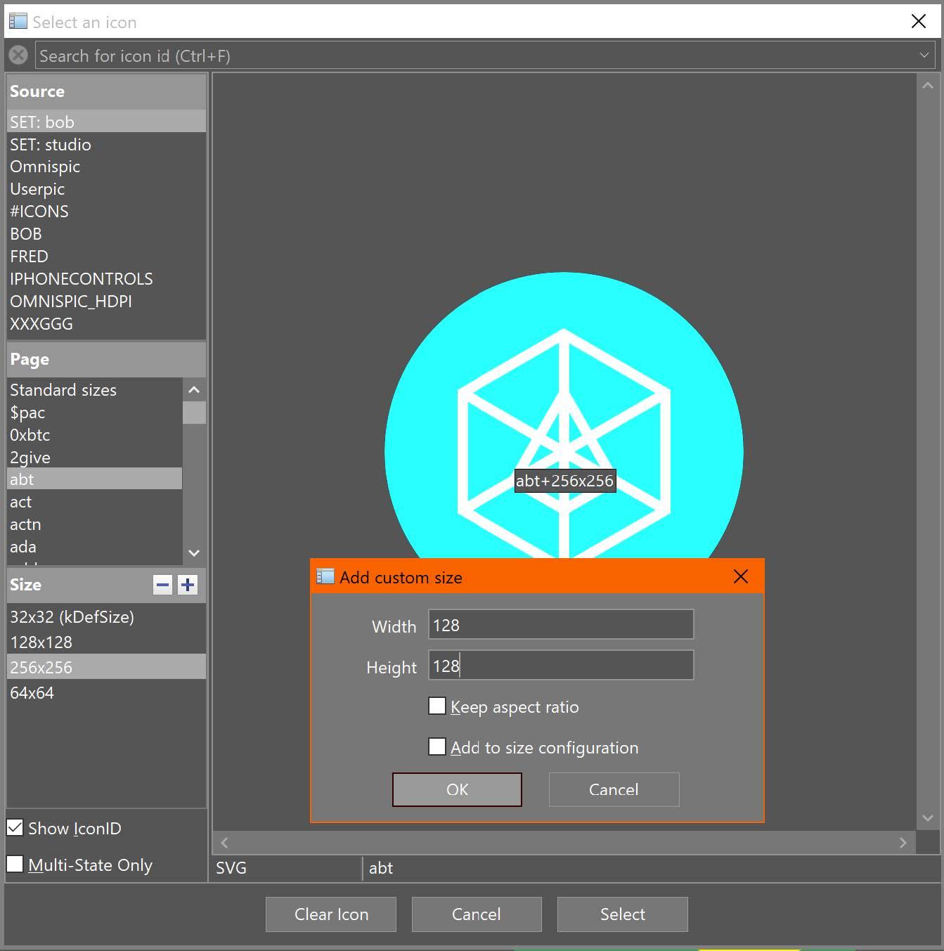 Select Icon dialog